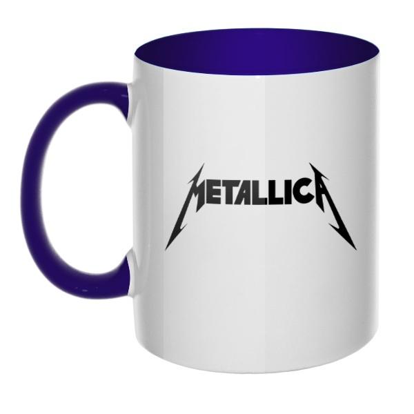 Кружка Metallica, цветная ручка + внутри, цвет темно-синий