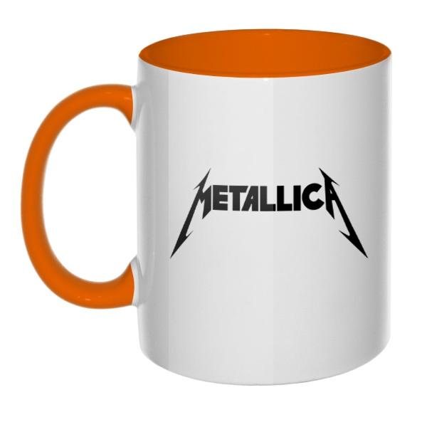 Кружка Metallica, цветная ручка + внутри, цвет оранжевый