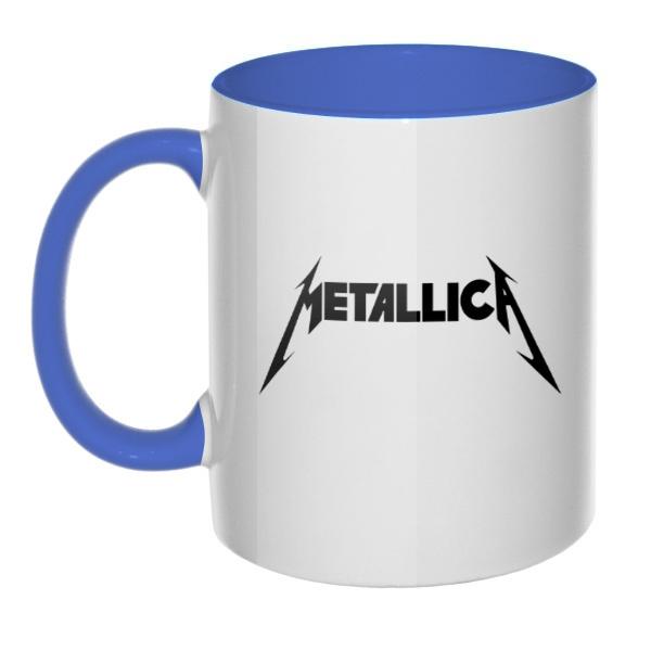 Кружка Metallica, цветная ручка + внутри, цвет лазурный
