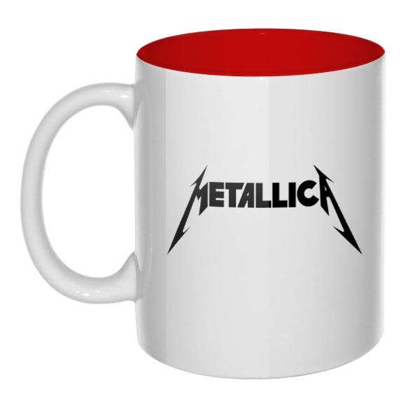 Кружка цветная внутри Metallica, цвет красный