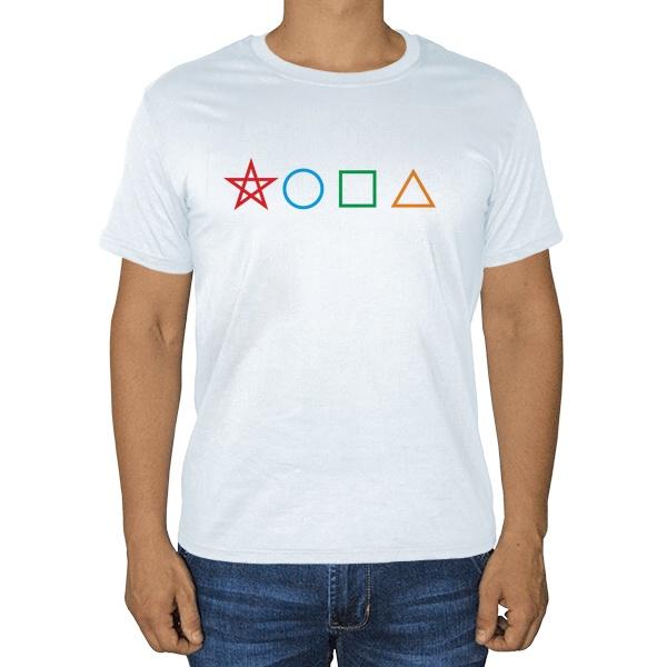 Белая футболка Жопа геометрическая
