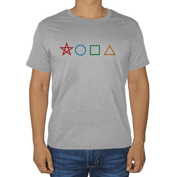 Геометрическая жопа, серая футболка (меланж)