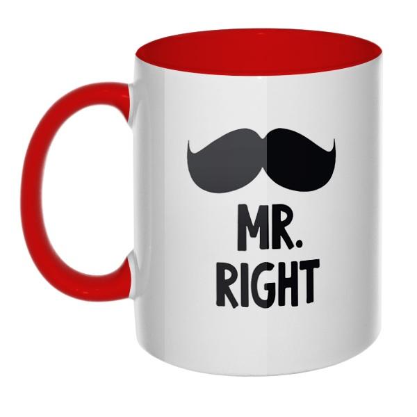 Mr Right, Mrs always Right, кружка цветная внутри и ручка