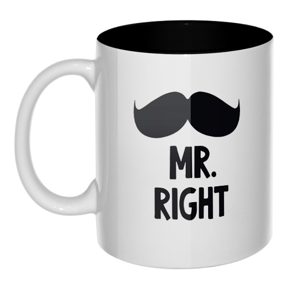 Mr Right, Mrs always Right, кружка цветная внутри