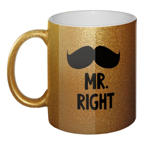 Кружка блестящая Mr Right, Mrs always Right