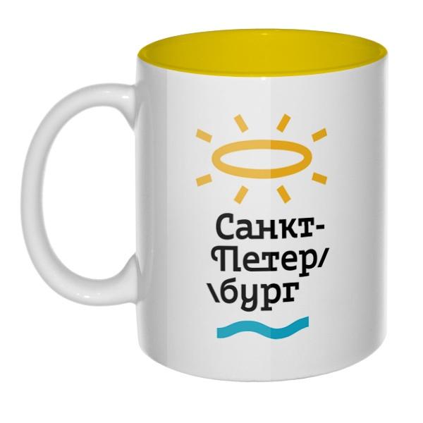 Туристический логотип Санкт-Петербурга от Студии Лебедева, кружка цветная внутри