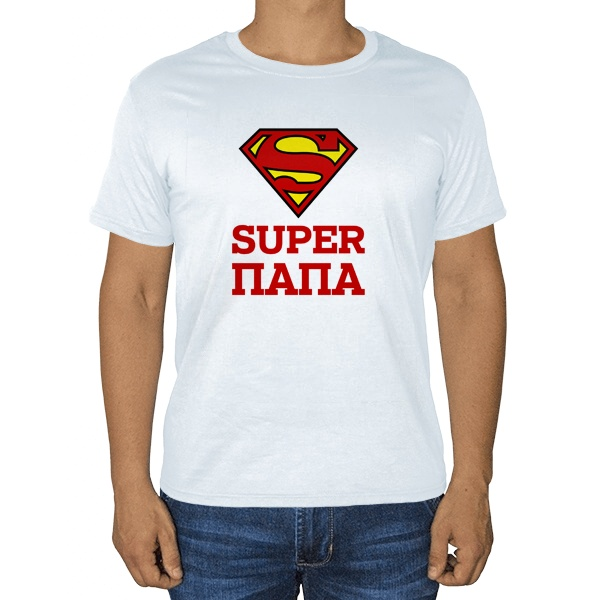 Белая футболка Super Папа