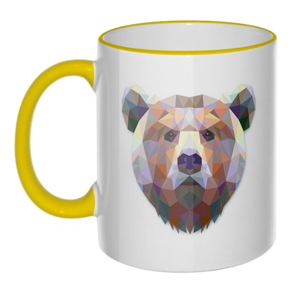 Кружка Русский медведь с цветным ободком и ручкой