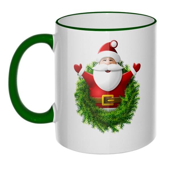 Кружка Санта Клаус с цветным ободком и ручкой