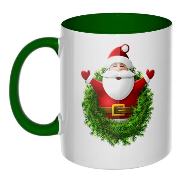 Санта Клаус, кружка цветная внутри и ручка