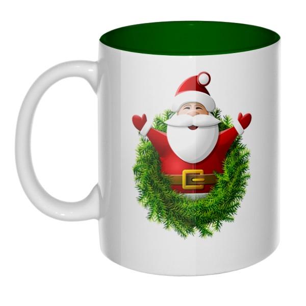 Санта Клаус, кружка цветная внутри