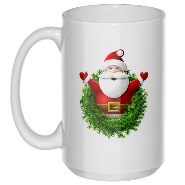 Санта Клаус, большая кружка с круглой ручкой