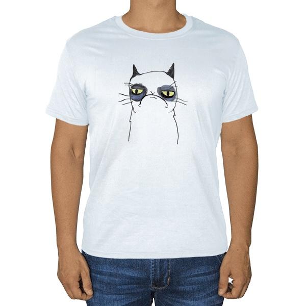 Белая футболка Grumpy cat