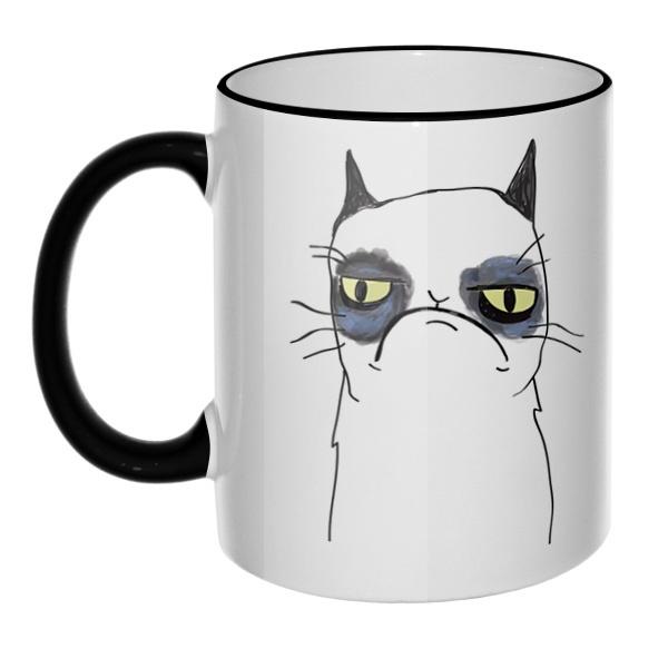 Кружка Grumpy cat с цветным ободком и ручкой