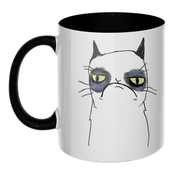 Grumpy cat (недовольный кот), кружка цветная внутри и ручка