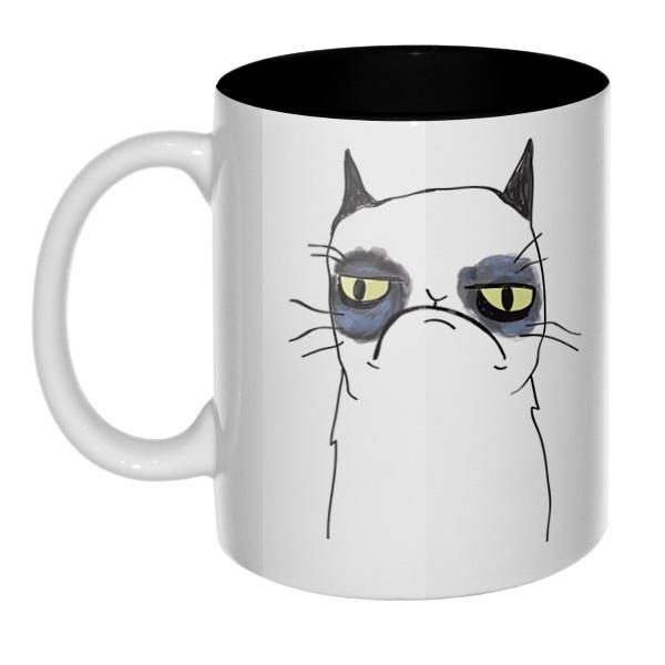 Grumpy cat (сердитый кот), кружка цветная внутри