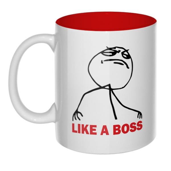 Like a boss, кружка цветная внутри