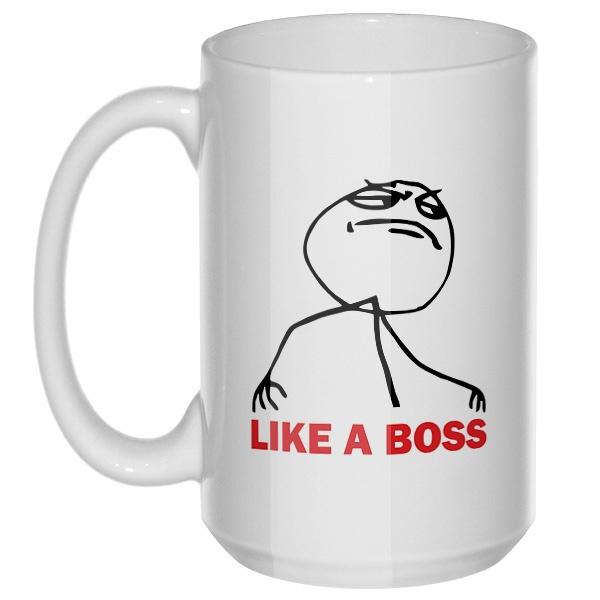 Like a boss, большая кружка с круглой ручкой