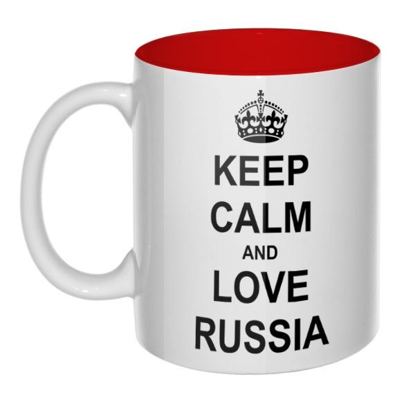 Кружка Keep calm and love Russia  цветная внутри , цвет красный