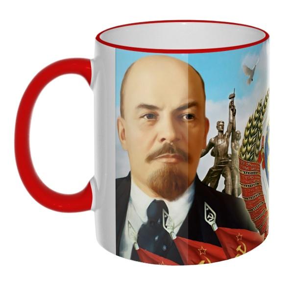 Цветная 3D-кружка (ободок + ручка) Ленин и Сталин