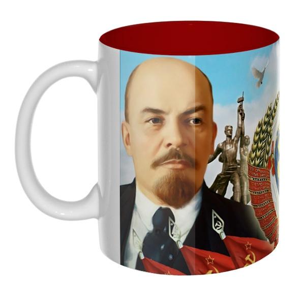 Цветная внутри 3D-кружка Ленин и Сталин