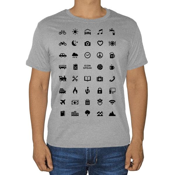 Принт для путешественника, серая футболка (меланж)