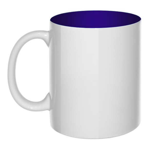 Кружка Без принта цветная внутри, цвет темно-синий