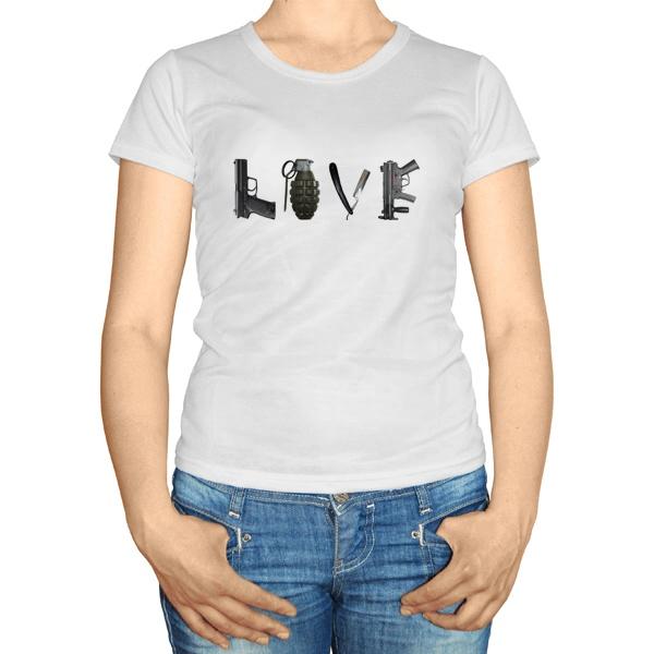 Женская футболка Love из оружия