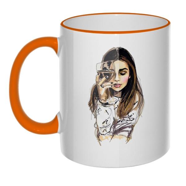 Кружка Хочется винишка и мужика, а пью гребаный чай с цветным ободком и ручкой