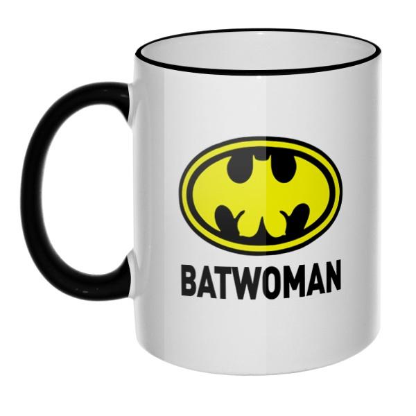Кружка Batwomen с цветным ободком и ручкой