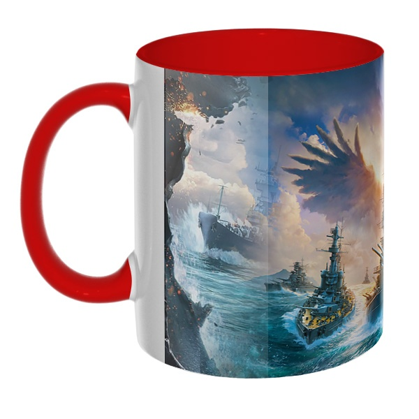 3D-кружка World of Warships, цветная внутри и ручка