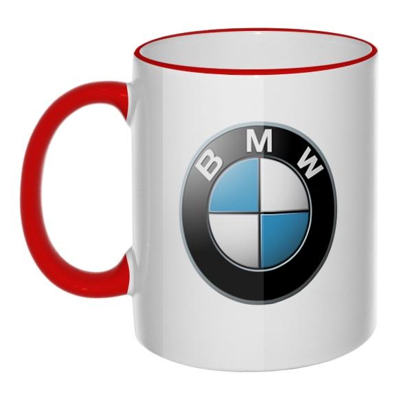 Кружка Логотип BMW с цветным ободком и ручкой