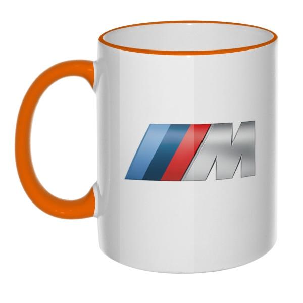 Кружка с эмблемой BMW Motorsport с цветным ободком и ручкой