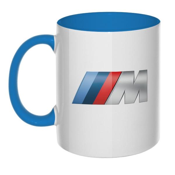 Логотип BMW M, кружка цветная внутри и ручка
