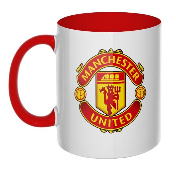 Логотип Манчестер Юнайтед, кружка цветная внутри и ручка