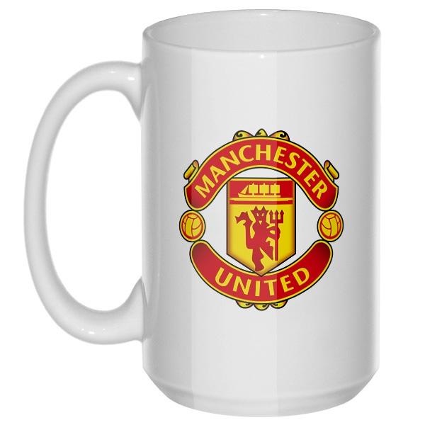 Логотип Манчестер  Юнайтед, большая кружка с круглой ручкой