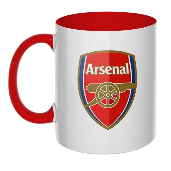 Эмблема ФК Арсенал, кружка цветная внутри и ручка