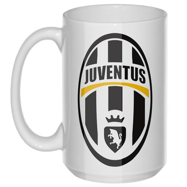 Эмблема ФК Ювентус, большая кружка с круглой ручкой