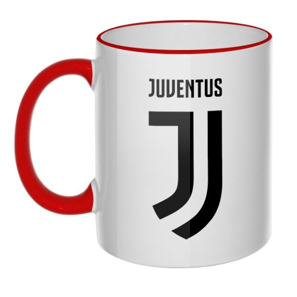 Кружка Juventus с цветным ободком и ручкой
