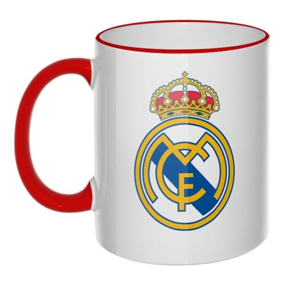 Кружка ФК Реал Мадрид с цветным ободком и ручкой