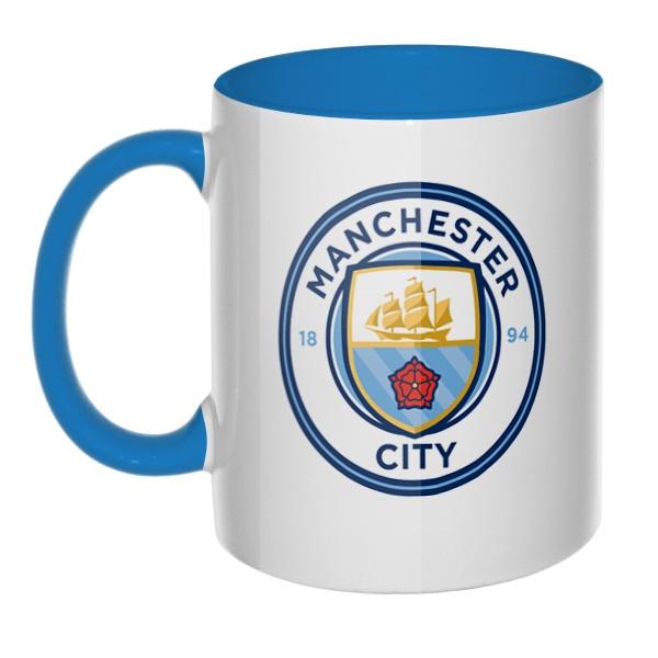 Манчестер Сити, кружка цветная внутри и ручка