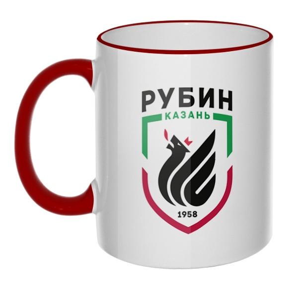 Кружка ФК Рубин с цветным ободком и ручкой