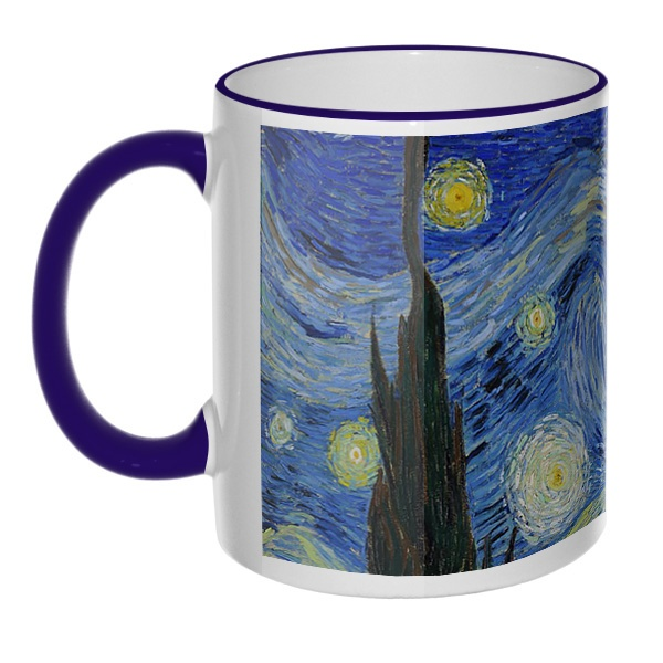 Кружка Звездная ночь Ван Гог с цветным ободком и ручкой