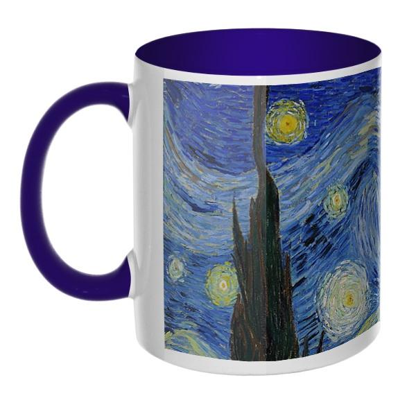 Звездная ночь Ван Гог, кружка цветная внутри и ручка