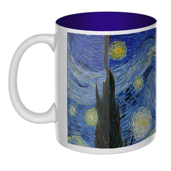 Звездная ночь Ван Гог, кружка цветная внутри