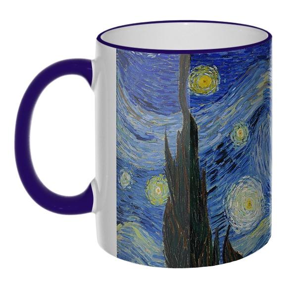 Цветная 3D-кружка (ободок + ручка) Звездная ночь Ван Гог