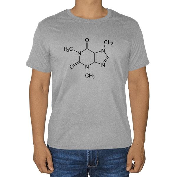 Кофеин, серая футболка (меланж)