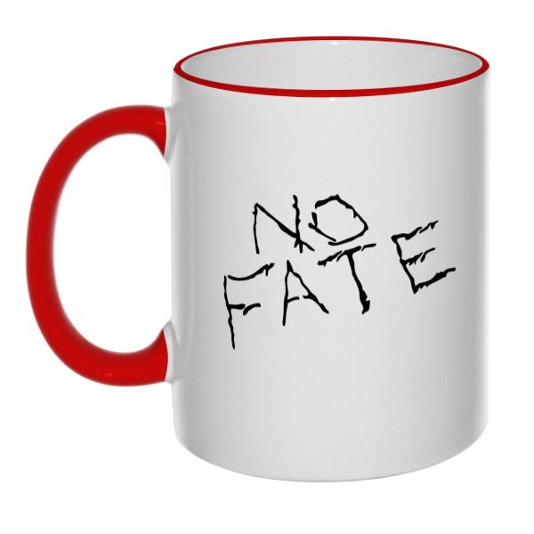 Кружка No fate (Нет судьбы), цветной ободок, цветная ручка, цвет красный