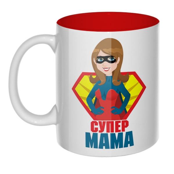 Супер мама, кружка цветная внутри