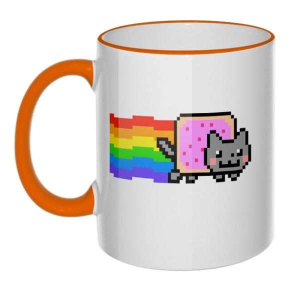 Кружка Nyan Cat с цветным ободком и ручкой